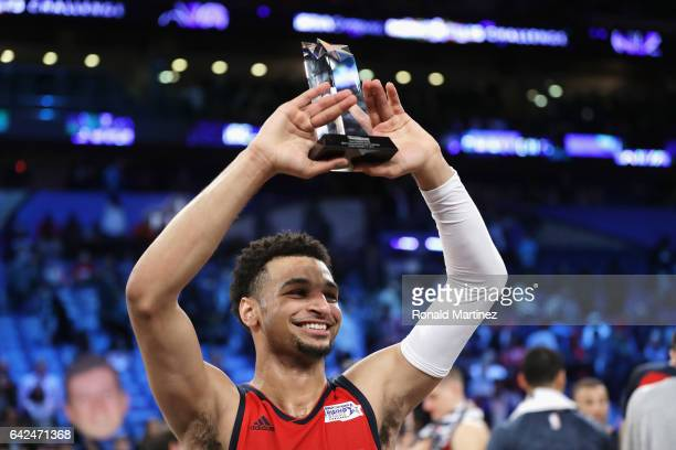 Jamal Murray of the Denver Nuggets celebrates with the 2017 BBVA Compass Rising Stars Challenge MVP trophy after the World Team defeated the US Team...
