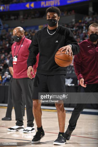 Jamal Murray of the Denver Nuggets dribbles the ball during Round 1, Game 5 of the 2021 NBA Playoffs on June 1, 2021 at the Ball Arena in Denver,...