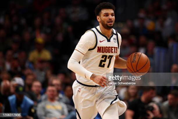 Jamal Murray of the Denver Nuggets dribbles up court against the Milwaukee Bucks at Pepsi Center on March 9 2020 in Denver Colorado NOTE TO USER User...