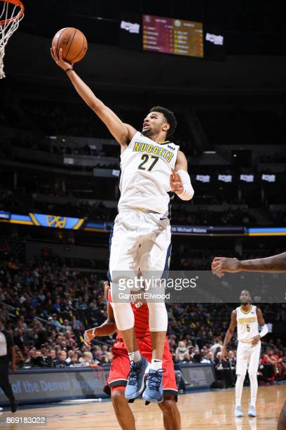 Jamal Murray of the Denver Nuggets drives to the basket against the Toronto Raptors on November 1 2017 at the Pepsi Center in Denver Colorado NOTE TO...