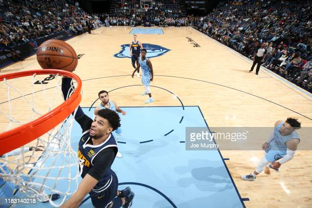 Jamal Murray of the Denver Nuggets drives to the basket during a game against the Memphis Grizzlies on November 17 2019 at FedExForum in Memphis...
