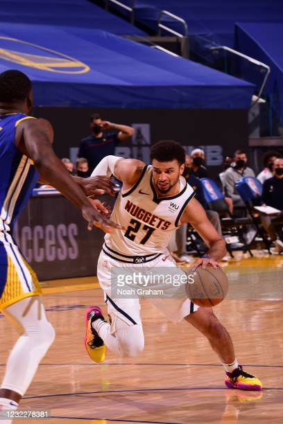 Jamal Murray of the Denver Nuggets drives to the basket during the game against the Golden State Warriors on April 12, 2021 at Chase Center in San...