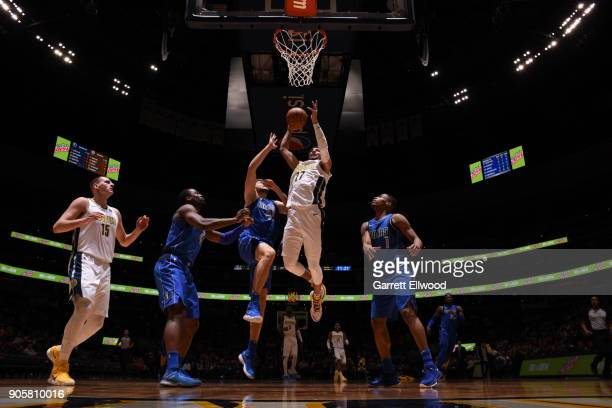 Jamal Murray of the Denver Nuggets drives to the basket during the gameadm on January 16 2018 at the Pepsi Center in Denver Colorado NOTE TO USER...