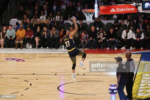 Jamal Murray of the Denver Nuggets drives to the basket during the Taco Bell Skills Challenge during State Farm AllStar Saturday Night as part of the...