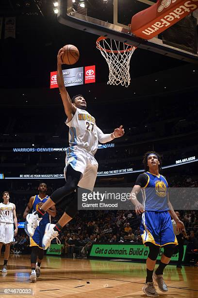 Jamal Murray of the Denver Nuggets goes for the dunk during the game against the Golden State Warriors on November 10 2016 at the Pepsi Center in...