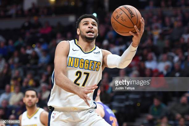 Jamal Murray of the Denver Nuggets goes up for a layup against the Phoenix Suns at Pepsi Center on January 3 2018 in Denver Colorado NOTE TO USER...