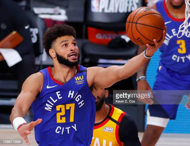 Jamal Murray of the Denver Nuggets goes up for a shot against the Utah Jazz during the first quarter in Game Six of the Western Conference First...