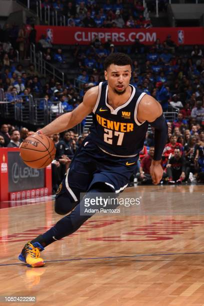 Jamal Murray of the Denver Nuggets handles the ball against the LA Clippers during a game on October 17 2018 at Staples Center in Los Angeles...