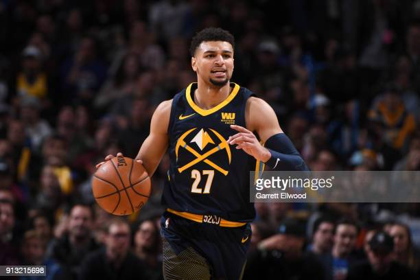 Jamal Murray of the Denver Nuggets handles the ball against the Oklahoma City Thunder on February 1 2018 at the Pepsi Center in Denver Colorado NOTE...