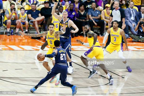 Jamal Murray of the Denver Nuggets handles the ball against the Los Angeles Lakers on September 30 2018 at Valley View Casino Center in San Diego...