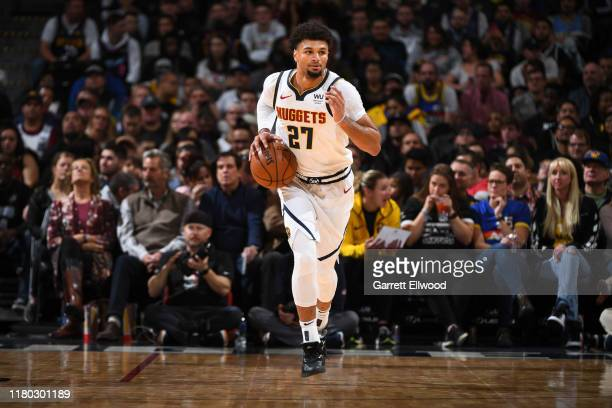 Jamal Murray of the Denver Nuggets handles the ball against the Miami Heat on November 5 2019 at the Pepsi Center in Denver Colorado NOTE TO USER...