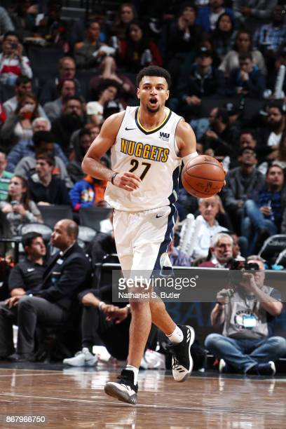 Jamal Murray of the Denver Nuggets handles the ball against the Brooklyn Nets on October 29 2017 at Barclays Center in Brooklyn New York NOTE TO USER...