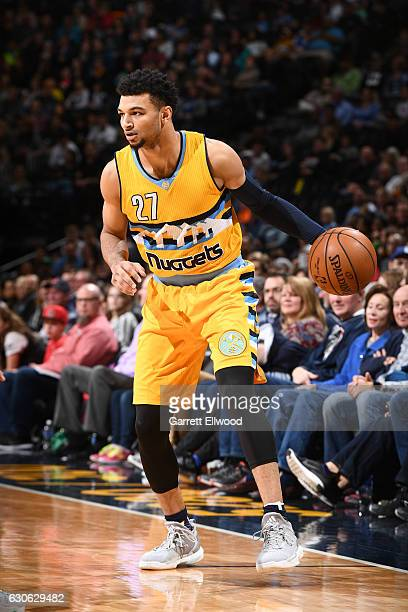 Jamal Murray of the Denver Nuggets handles the ball against the Minnesota Timberwolves on December 28 2016 at the Pepsi Center in Denver Colorado...