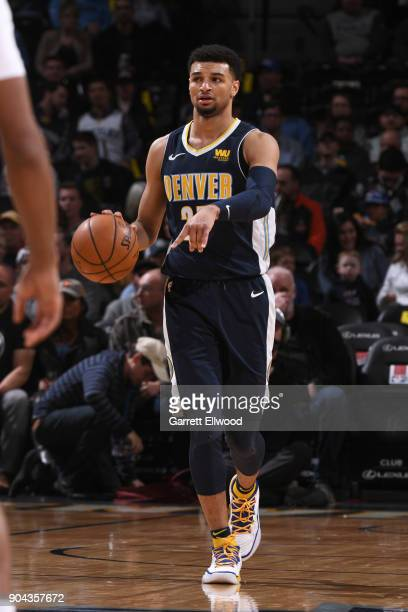 Jamal Murray of the Denver Nuggets handles the ball against the Memphis Grizzlies on January 12 2018 at the Pepsi Center in Denver Colorado NOTE TO...