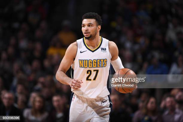 Jamal Murray of the Denver Nuggets handles the ball against the Sacramento Kings on March 11 2018 at the Pepsi Center in Denver Colorado NOTE TO USER...