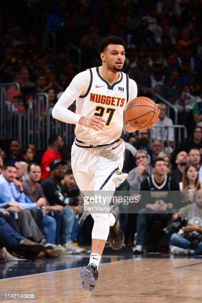 Jamal Murray of the Denver Nuggets handles the ball against the Portland Trail Blazers during Game Five of the Western Conference SemiFinals of the...