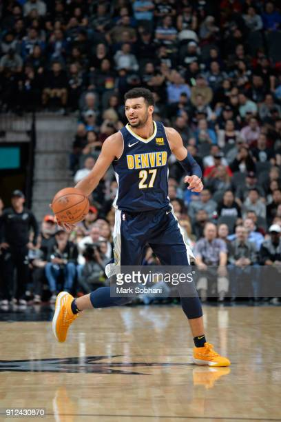 Jamal Murray of the Denver Nuggets handles the ball against the San Antonio Spurs on January 30 2018 at the ATT Center in San Antonio Texas NOTE TO...