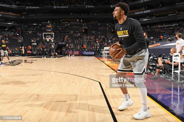 Jamal Murray of the Denver Nuggets handles the ball before the game against the Phoenix Suns during Round 2, Game 1 of the 2021 NBA Playoffs on June...