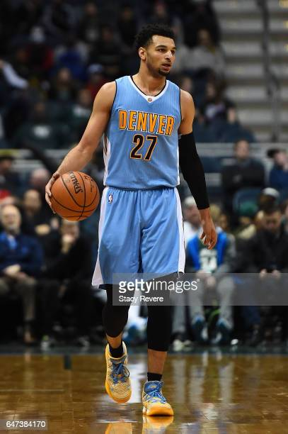 Jamal Murray of the Denver Nuggets handles the ball during a game against the Milwaukee Bucks at the BMO Harris Bradley Center on March 1 2017 in...