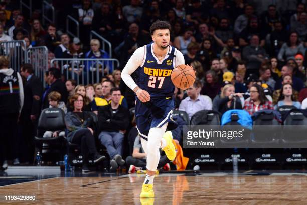 Jamal Murray of the Denver Nuggets handles the ball during the game against the LA Clippers on January 12 2020 at the Pepsi Center in Denver Colorado...