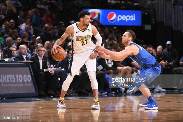 Jamal Murray of the Denver Nuggets handles the ball during the game against the Dallas Mavericks on January 16 2018 at the Pepsi Center in Denver...