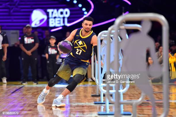 Jamal Murray of the Denver Nuggets handles the ball during the Taco Bell Skills Challenge during State Farm AllStar Saturday Night as part of the...