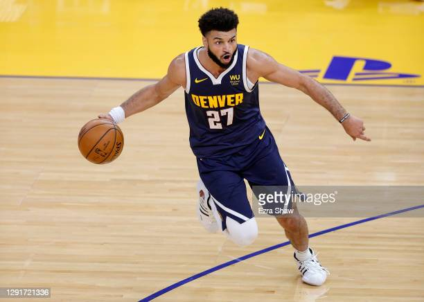 Jamal Murray of the Denver Nuggets in action against the Golden State Warriors during their NBA preseason game at Chase Center on December 12, 2020...