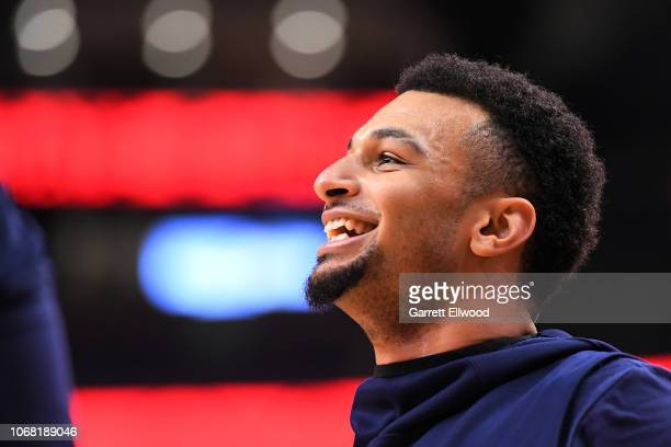 Jamal Murray of the Denver Nuggets looks on before the game against the Toronto Raptors on December 3 2018 at Scotiabank Arena in Toronto Ontario...