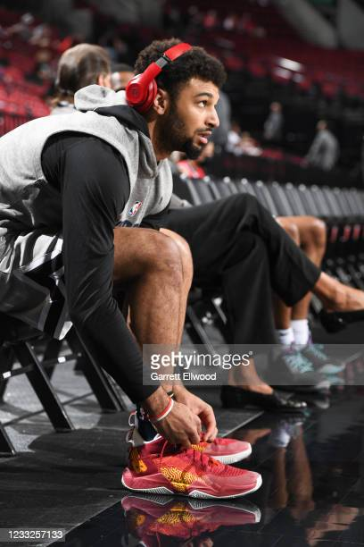 Jamal Murray of the Denver Nuggets looks on before the game against the Portland Trail Blazers during Round 1, Game 6 of the 2021 NBA Playoffs on...