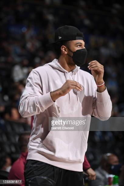 Jamal Murray of the Denver Nuggets looks on during Round 1, Game 2 of the NBA 2021 Playoffs on May 24, 2021 at the Ball Arena in Denver, Colorado....