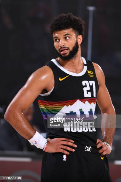 Jamal Murray of the Denver Nuggets looks on during Round One, Game Five of the NBA Playoffs on August 25, 2020 at The Field House in Orlando,...