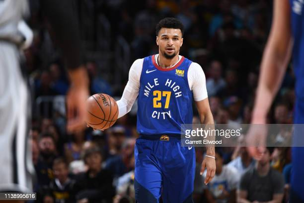 Jamal Murray of the Denver Nuggets looks on during the game against the San Antonio Spurs during Game Five of Round One of the 2019 NBA Playoffson...