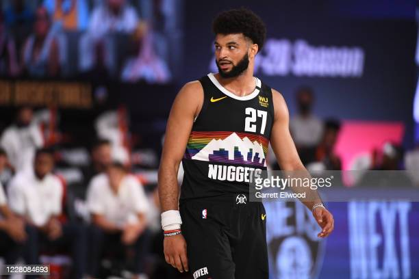 Jamal Murray of the Denver Nuggets looks on during the game against the Utah Jazz during Round One, Game One of the NBA Playoffs on August 17, 2020...