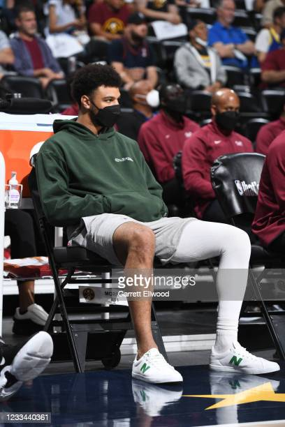 Jamal Murray of the Denver Nuggets looks on during the game against the Phoenix Suns during Round 2, Game 4 of the 2021 NBA Playoffs on June 13, 2021...
