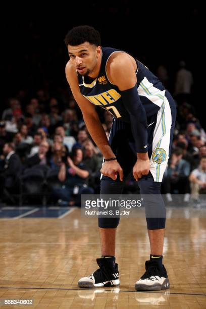 Jamal Murray of the Denver Nuggets looks on during the game against the New York Knicks on October 30 2017 at Madison Square Garden in New York City...
