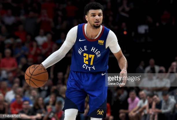 Jamal Murray of the Denver Nuggets looks to drive to the basket during the second half of Game Six of the Western Conference Semifinals against the...