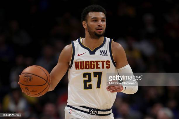 Jamal Murray of the Denver Nuggets plays the Milwaukee Bucks at the Pepsi Center on November 11 2018 in Denver Colorado NOTE TO USER User expressly...