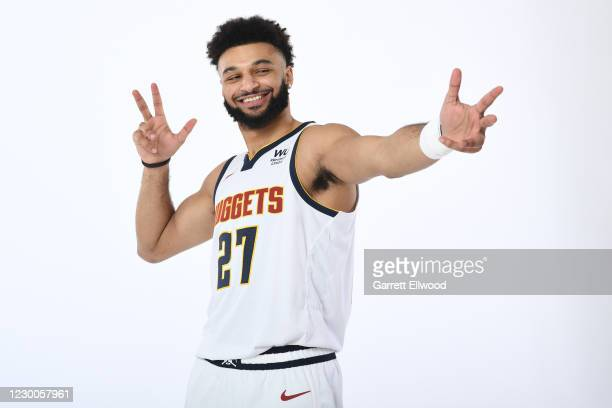 Jamal Murray of the Denver Nuggets pose for portrait during content day on December 7, 2020 at Ball Arena in Denver, Colorado. NOTE TO USER: User...