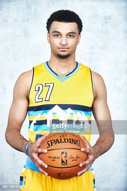 Jamal Murray of the Denver Nuggets poses for a portrait during the 2016 NBA rookie photo shoot on August 7 2016 at the Madison Square Garden Training...