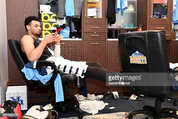 Jamal Murray of the Denver Nuggets prepares for the game against the Dallas Mavericks on December 19 2016 at the Pepsi Center in Denver Colorado NOTE...