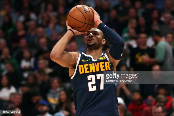 Jamal Murray of the Denver Nuggets puts up a shot against the Boston Celtics in the first quarter at the Pepsi Center on November 5 2018 in Denver...