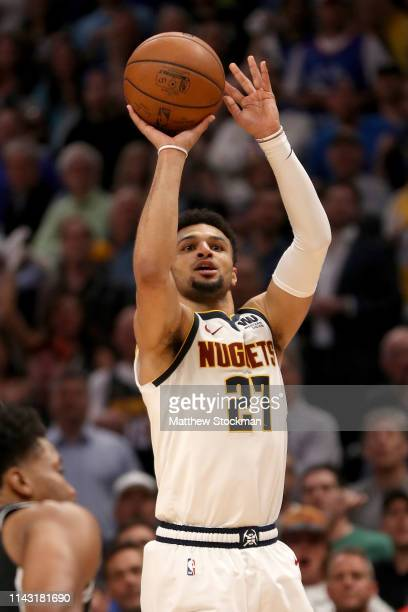Jamal Murray of the Denver Nuggets puts up a three point shot against the San Antonio Spurs in the fourth quarter during game two of the first round...