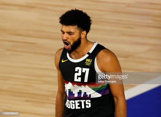 Jamal Murray of the Denver Nuggets reacts after a shot during the fourth quarter against the Utah Jazz in Game Five of the Western Conference First...