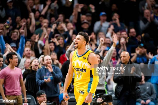 Jamal Murray of the Denver Nuggets reacts after making a three point basket against the San Antonio Spurs at Pepsi Center on February 23 2018 in...