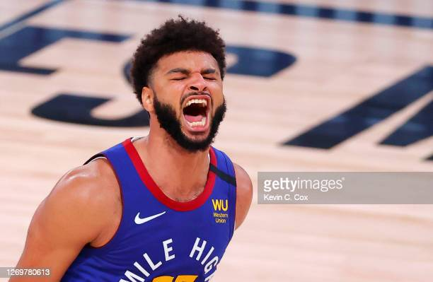 Jamal Murray of the Denver Nuggets reacts as time expires and the Nuggets win against the Utah Jazz in Game Six of the Western Conference First Round...
