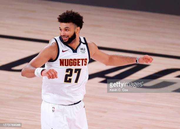 Jamal Murray of the Denver Nuggets reacts during the fourth quarter against the Los Angeles Lakers in Game Two of the Western Conference Finals...