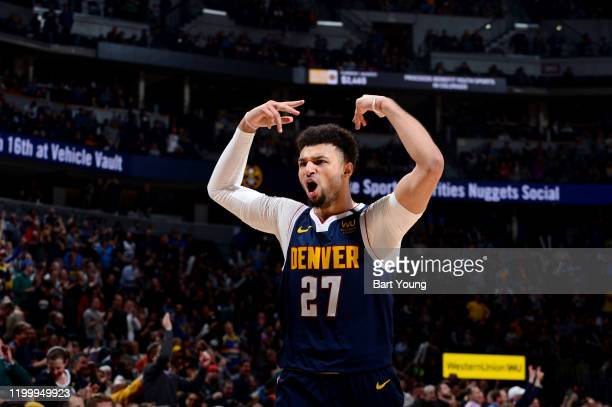 Jamal Murray of the Denver Nuggets reacts to a play during a game against the San Antonio Spurs on February 10, 2020 at the Pepsi Center in Denver,...
