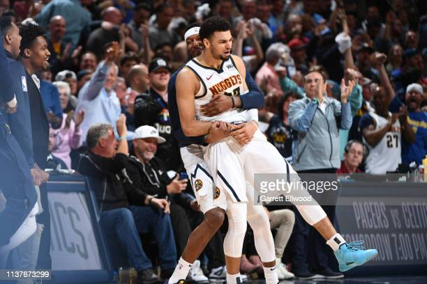 Jamal Murray of the Denver Nuggets reacts to a play during Game Two of Round One of the 2019 NBA Playoffs on on April 16 2019 at the Pepsi Center in...
