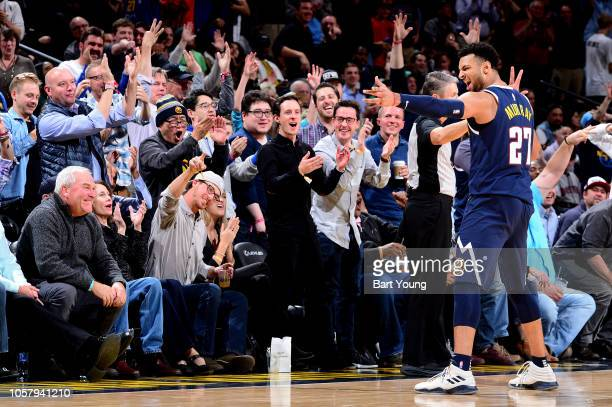 Jamal Murray of the Denver Nuggets reacts to a play during the game against the Boston Celtics on November 5 2018 at the Pepsi Center in Denver...