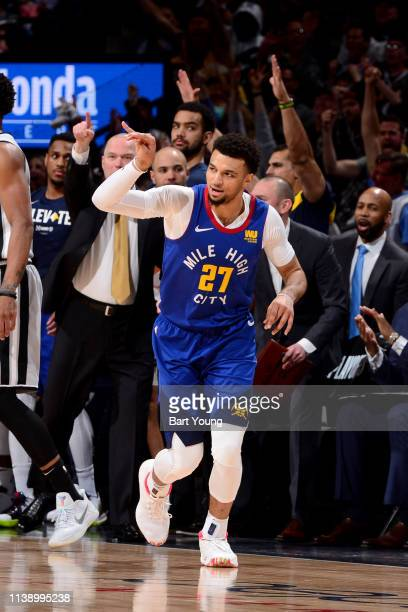 Jamal Murray of the Denver Nuggets reacts to a play during the game against the San Antonio Spurs during Game Five of Round One of the 2019 NBA...